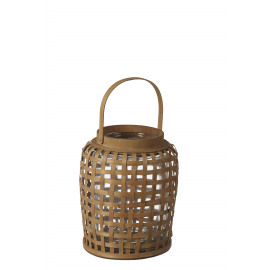 ANGKOR - lantern - bamboo / glass - DIA 25 x H 32 cm