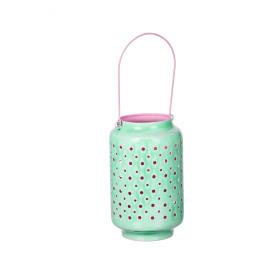 BAZAR URBAIN - lantaarn - geëmailleerde ijzer - aqua/ roze - M - DIA16x25cm