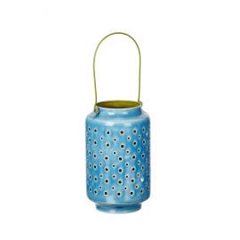 BAZAR URBAIN - lantaarn - geëmailleerde ijzer - blauw/ groen - M - DIA16x25cm