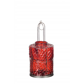MANGANRIO - lantern - iron/ glass - red - DIA15x32cm