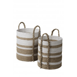 RIA - set van 2 manden - zeegras/ raffia - M: DIA41x57cm L: DIA47x60cm