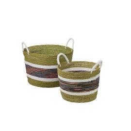 AMA - set van 2 manden - zeegras/ raffia - groen - S: DIA38,5x40,5cm L: DIA51,5x51cm