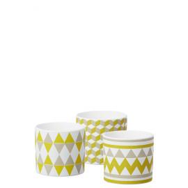 ZAZA - set de 3 cache pots - faïence - vert clair - 13,5x13,5x12,5cm