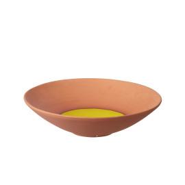 PALOMA - rond bord - L - terracotta - geel - Ø43x12cm