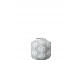 LABINA - terracotta vase - white decor - 16x16x16cm