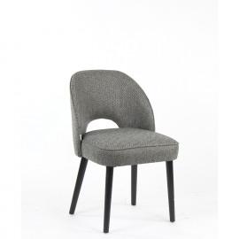 KARIA - chaise -  tissu chevrons gris - pied noir -49x63x86 cm