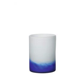 GRAPH - vaas - glas  wit/blauw- M - 24xØ18 cm