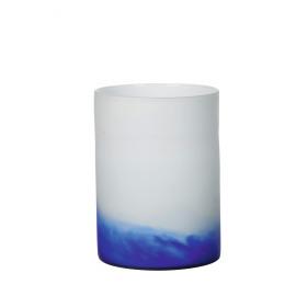 GRAPH - vaas - glas  wit/blauw- L - 31xØ23 cm