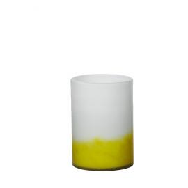 GRAPH - vaas - glas  wit/geel- M - 24xØ18 cm