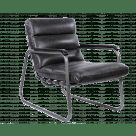 TERAMO - Zetel - metaal - hout - leder - zwart - 63x90x85 cm