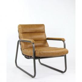 TERAMO - Zetel - metaal - hout - leder - bruin - 63x90x85 cm