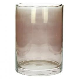 ROSIS - vaas/windlicht - glas - gekleurd glas - roos - L - dia 22x32 cm