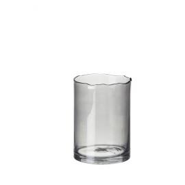 ROSIS - vaas/windlicht - glas - smoke - M - dia 18x25 cm