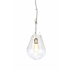 BULLIA - hanginglamp - blown glass / metal - DIA 25 x H 53 cm - clear