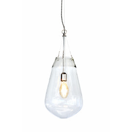 BULLIA - hanging lamp - blown glass / metal - DIA 30 x H 69 cm - clear