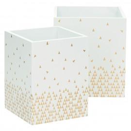 TALO - set van 2 dozen - mdf - gouden driehoeken - S 10x10x13cm / L 12,5x12,5x14cm