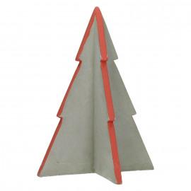 HAPPY - kerstboom - beton - rood - M - 18x18x24cm