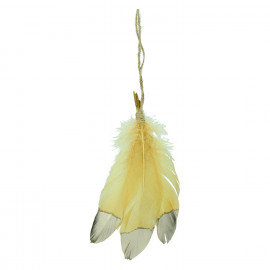 VELIA - hanging feathers - glass - H 20 cm - yellow