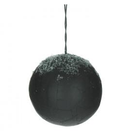 SIGRUN - set van 4 kerstballen - papier - zwart met sneeuw - L - DIA 12 cm