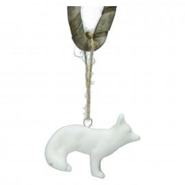 FOX - kerst ornament - vos - porcelein - 4,5x1,7x6,5cm