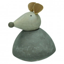 TOGGLE - x-mas deco - mouse - wood/concrete - M - 4,2x4,2x7,8cm