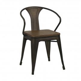 TILO - metalen stoel - bamboe zitvlak - 49,5x51x80 cm