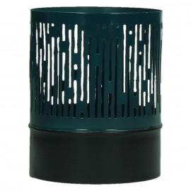 BRUTUS - windlicht - metaal - zwart/oceaan - S - 10x10x12,5cm