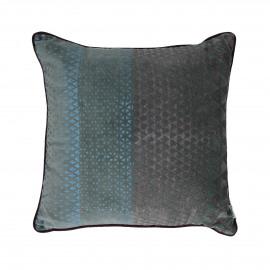 ALCESTE - coussin - velours - print triangles - teal/ bleu - 45x45cm
