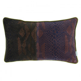 PLATEE - cushion - velvet - snake print - brown/purple - 30x50cm