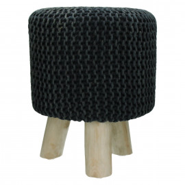 SPHERE - stool - stone washed - cotton - black - DIA 35 x H 45 cm