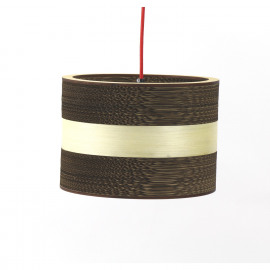 PIANA - Hanging lamp E27 -  wood - carton paper - Ø 30 x 24 cm