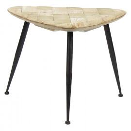 LIVIA - koffietafel - ijzer - gerecycleerd dennehout - S - 53x50x40 cm