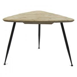 LIVIA - koffietafel - ijzer - gerecycleerd dennehout - L - 73x70x50 cm