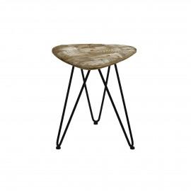LIVIA - tabouret - métal - plateau pin recyclé - PM - 35x37x41 cm