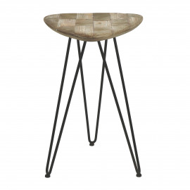 LIVIA - kruk - ijzer - gerecycleerd dennehout - M - 40,5x39x62,5 cm
