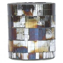 CLOUD - T/light - mosaique - verre - argent antique - PM - Ø8 x 9 cm