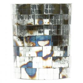 CLOUD - T/light - mosaique - verre - argent antique - MM  - Ø10 x 13 cm