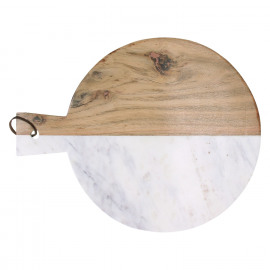 PIREE - planche à découper - marbre blanc/acacia - GM - Ø30 x 38 cm