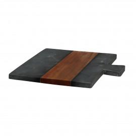 PIREE - planche à découper - marbre noir/acacia -  - L 30 x W 30 x H 1,5 cm