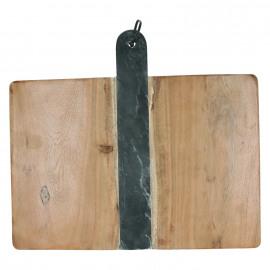 PIREE - snijplank - zwart marmer/acacia hout - 40x36x1,5 cm
