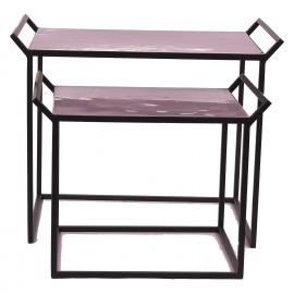 FAVORIT' - Set 2 dienbladen op stand - ijzer/geëmailleerd -lila/ paars- L 63x40x50cm + S 50x35x40cm