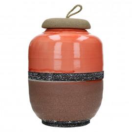 NANA - pot met dekstel - keramiek - rood - 20,5x20,5x29cm