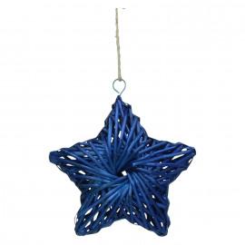 BARI' OLÈ - ster hanger - rotan - blauw - M - DIA 26 cm x H 6,5 cm