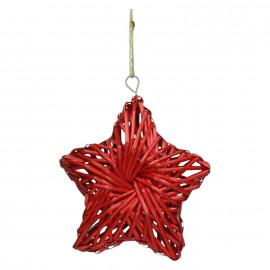 BARI' OLÈ - ster hanger - rotan - rood - M - DIA 26 cm x H 6,5 cm