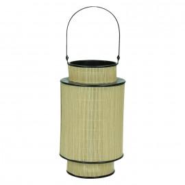 HINO - lantaarn - bamboe/metaal  - cilinder - S - Ø15xH25 cm