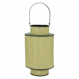HINO - lantaarn - bamboe/metaal - cilinder - M - Ø19xH30 cm