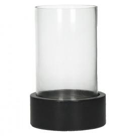 LIKAR - Windlicht - zwarte marmer basis - glas - Ø 13 x 20,5 cm