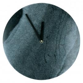 ALYON - Horloge - monobloc marbre noir - gris - Ø 25 x 3 cm
