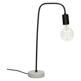 IZZY - lamp - marmer / metaal - L 21 x W 13 x H 49 cm - zwart