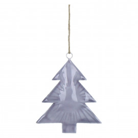 DARJA - xmas tree pendant - enamelled metal - purple - 12x14x2cm